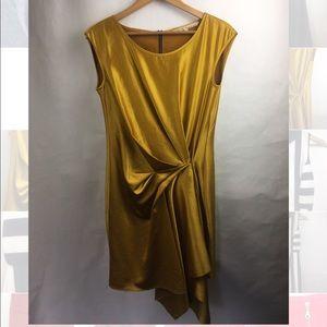 Rachel Zoe Gold silk draped dress